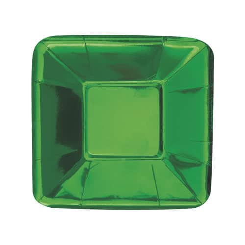 Green Foil Square Appetizer Plate 13cm - Pack of 8