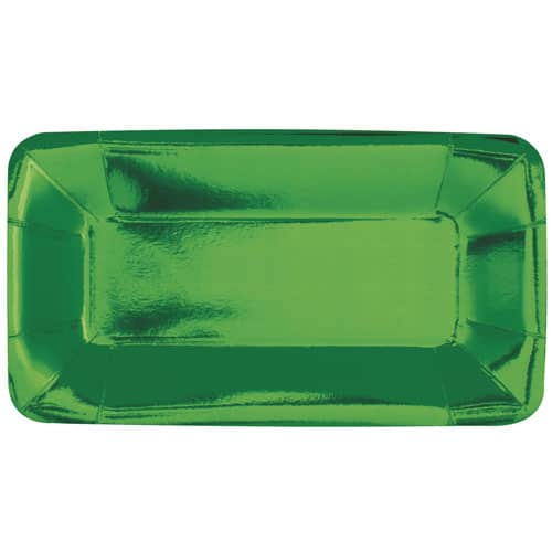 Green Foil Rectangular Appetizer Plate 23cm - Pack of 8 Product Image