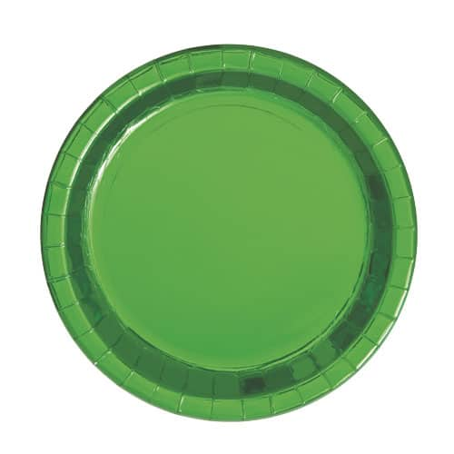 Green Foil Round Paper Plates 17cm - Pack of 8