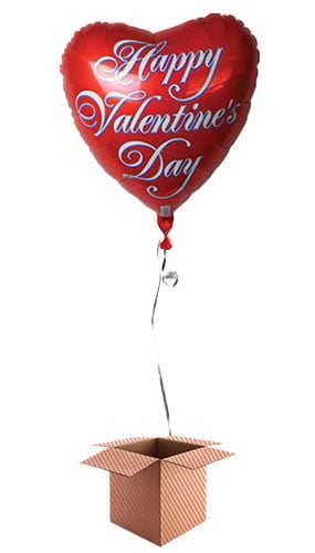 Happy Valentines Day Red Heart Shape Foil Balloon - Inflated Balloon in a Box