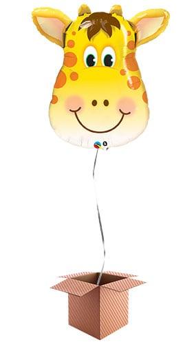 Jolly Giraffe Face Jungle Animals Helium Foil Giant Qualatex Balloon - Inflated Balloon in a Box