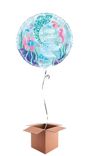 Mermaid Happy Birthday Round Foil Balloon - Inflated Balloon in a Box