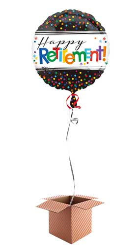 Happy Retirement Round Foil Balloon - Inflated Balloon in a Box