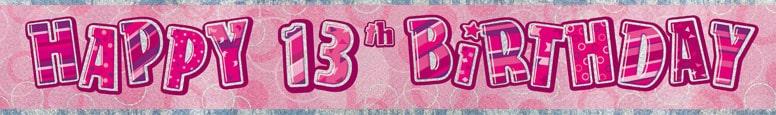 Pink Glitz 13th Birthday Prismatic Banner 274cm