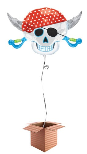Pirate Skulls and Cross Swords Helium Foil Giant Balloon - Inflated Balloon in a Box