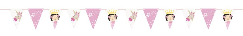 Princess and Unicorn Paper Flag Banner 274cm