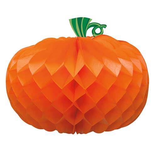 Pumpkin Shaped Honeycomb Decoration Centrepiece 27cm