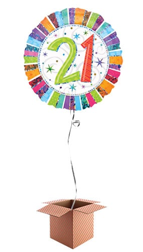 Radiant 21st Birthday Holographic Round Foil Balloon - Inflated Balloon in a Box