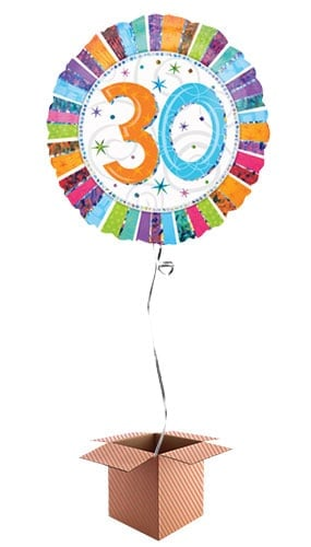 Radiant 30th Birthday Holographic Round Foil Balloon - Inflated Balloon in a Box