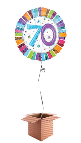 Radiant 70th Birthday Holographic Round Foil Balloon - Inflated Balloon in a Box