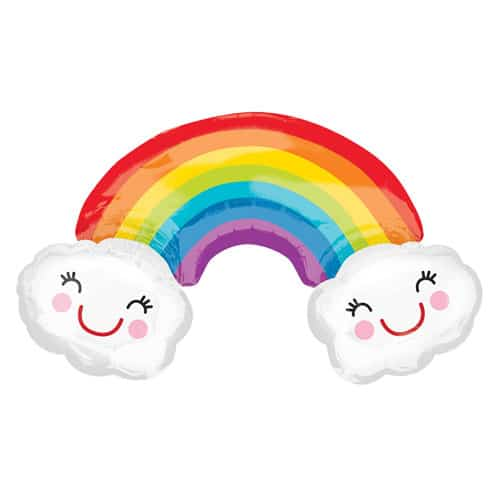 Rainbow With Clouds Helium Foil Giant Balloon 93cm / 37 in