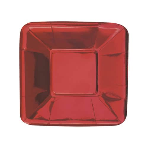 Red Foil Square Appetizer Plate 13cm - Pack of 8