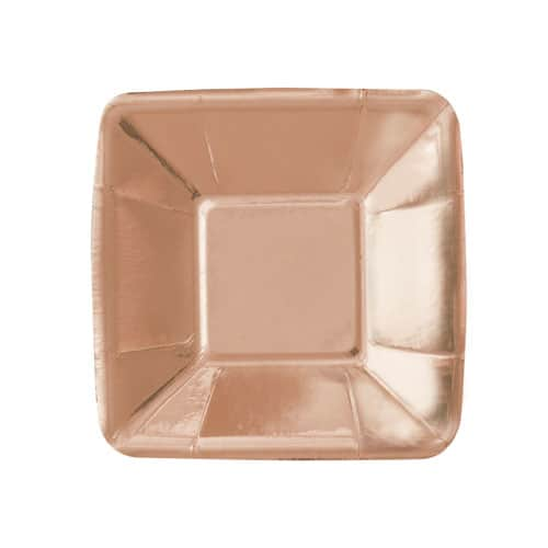 Rose Gold Foil Square Appetizer Plate 13cm - Pack of 8