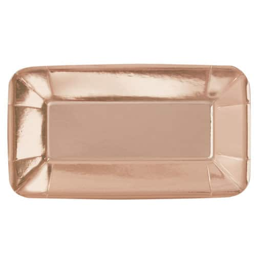 Rose Gold Foil Rectangular Appetizer Plate 23cm - Pack of 8