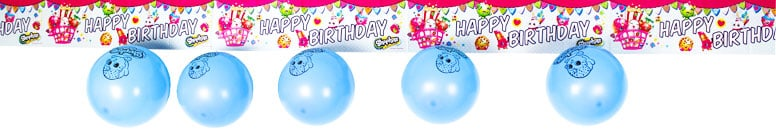 Shopkins Foil Banner With 5 Latex Balloons