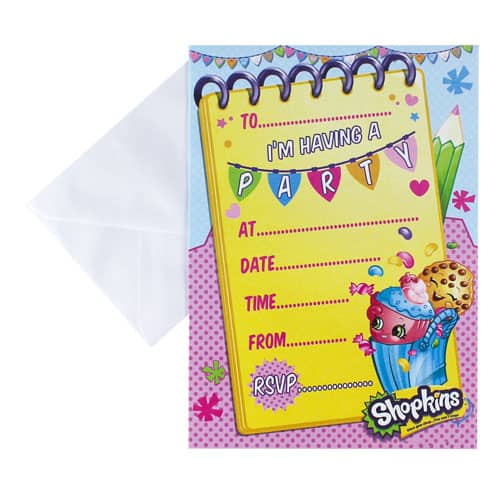 Shopkins Party Invitations with Envelopes - Pack of 20