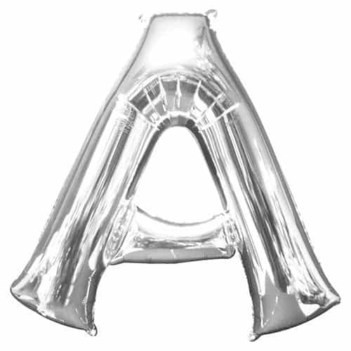 Silver Letter A Helium Foil Giant Balloon 86cm / 34 in Product Gallery Image