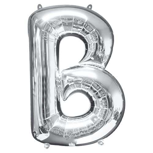 Silver Letter B Supershape Foil Helium Balloon 86cm / 34Inch Product Gallery Image