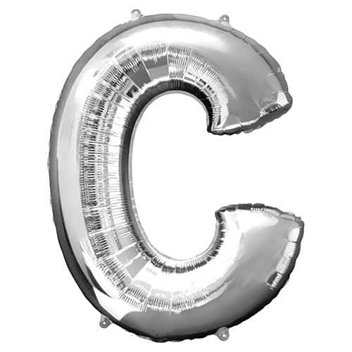 Silver Letter C Supershape Foil Helium Balloon 81cm / 32Inch Product Gallery Image