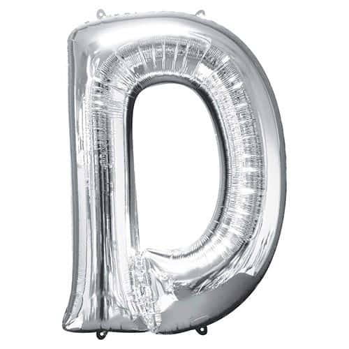 Silver Letter D Supershape Foil Helium Balloon 83cm / 33Inch Product Gallery Image