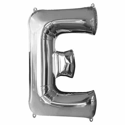 Silver Letter E Supershape Foil Helium Balloon 81cm / 32Inch Product Gallery Image