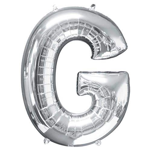 Silver Letter G Supershape Foil Helium Balloon 81cm / 32Inch Product Gallery Image