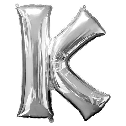 Silver Letter K Supershape Foil Helium Balloon 83cm / 33Inch Product Gallery Image