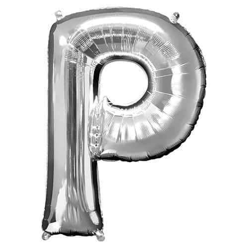 Silver Letter P Supershape Foil Helium Balloon 81cm / 32Inch Product Gallery Image