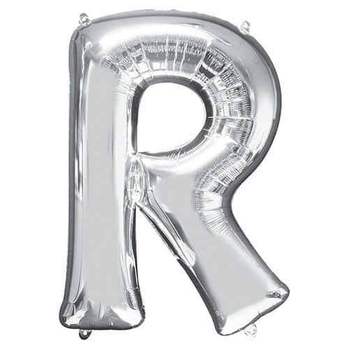 Silver Letter R Supershape Foil Helium Balloon 81cm / 32Inch Product Gallery Image