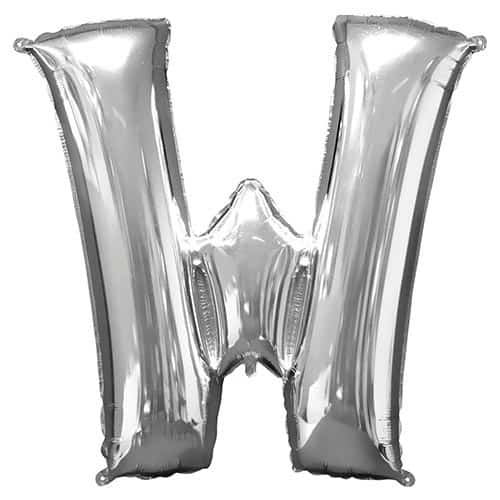 Silver Letter W Supershape Foil Helium Balloon 83cm / 33Inch Product Gallery Image