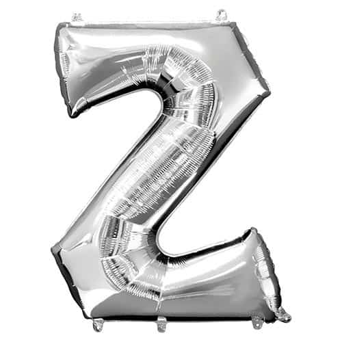 Silver Letter Z Supershape Foil Helium Balloon 83cm / 33Inch Product Gallery Image