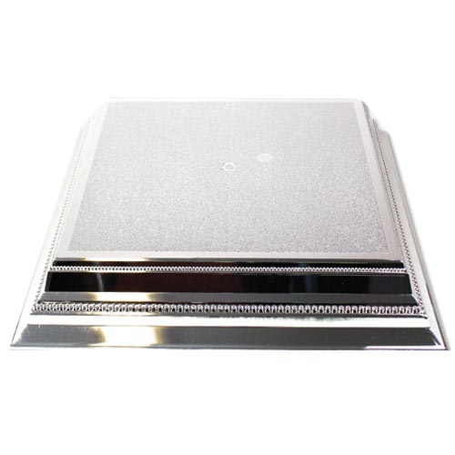 Silver Square Embossed Wedding Cake Stand 36cm