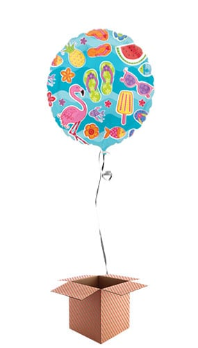 Summer Fun Round Foil Balloon - Inflated Balloon in a Box