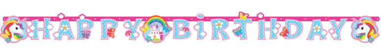 Unicorn Happy Birthday Letter Banner 179cm