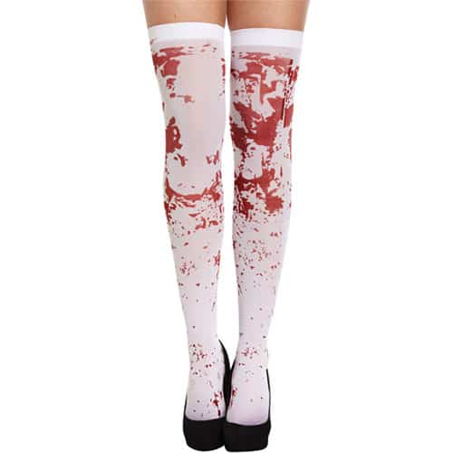 White Hold Ups Stockings With Blood