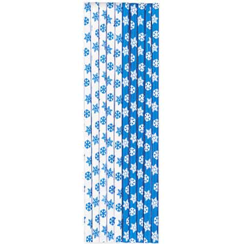 Snowflakes Paper Straws - Pack of 10