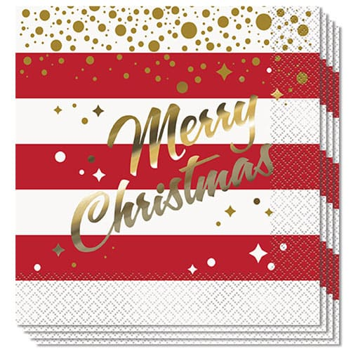 Gold Sparkle Christmas Luncheon Napkins 33cm 2ply - Pack of 16