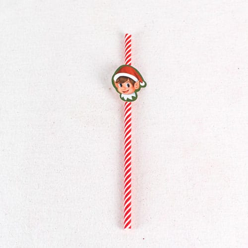 Elf Design Paper Drinking Straws - Pack of 20 Product Gallery Image