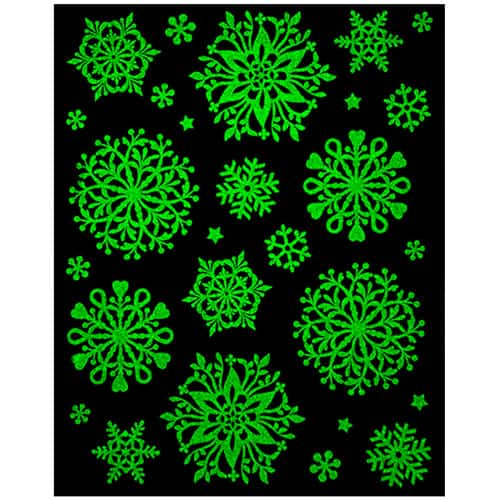 Assorted Christmas Glow in the Dark Snowflakes Window Stickers Product Gallery Image