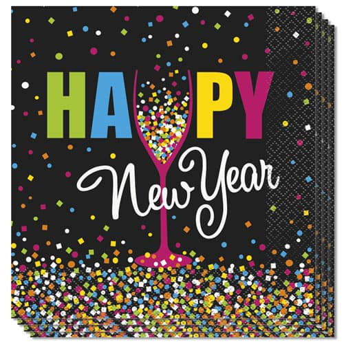 Confetti New Year Luncheon Napkins 33cm 2ply - Pack of 20