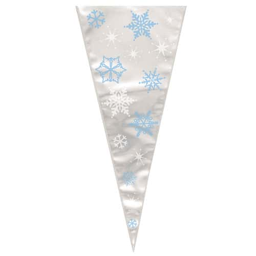 Snowflakes Large Cone Cello Bags with Twist Ties - Pack of 20