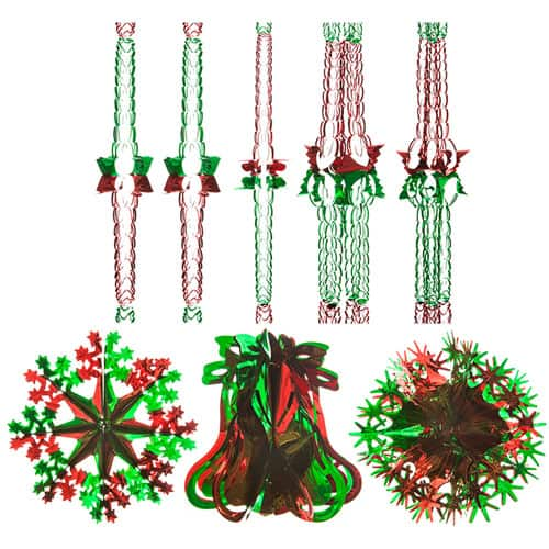 Assorted Green And Red Christmas Foil Decorations