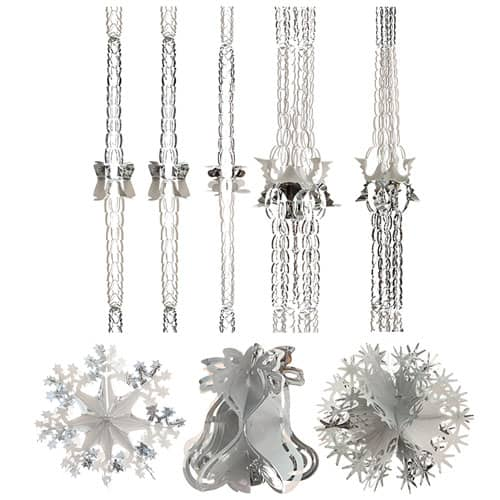Assorted White and Silver Christmas Foil Decorations - Pack of 7