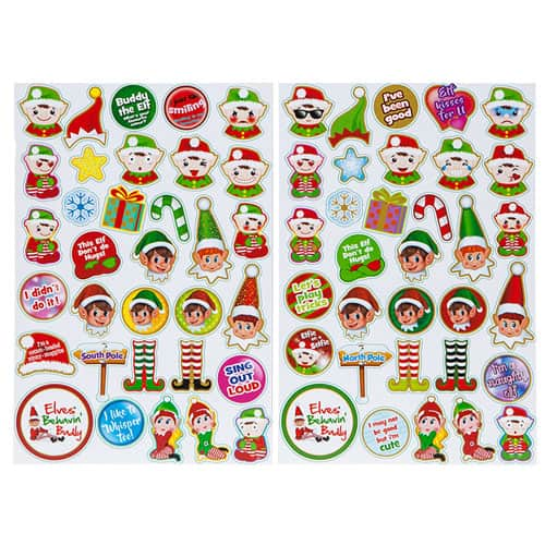 Assorted Christmas Puffy Elf Stickers - Pack of 33 Product Gallery Image