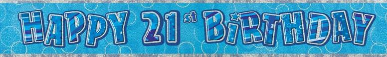 Blue Glitz 21st Birthday Prismatic Banner 274cm