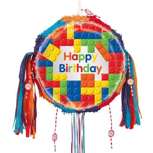 Building Blocks Happy Birthday Pull String Pinata