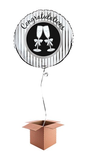 Champagne Toast Congratulations Round Foil Balloon - Inflated Balloon in a Box