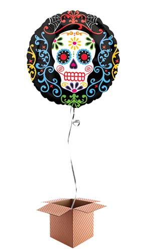 Day Of The Dead Round Foil Balloon - Inflated Balloon in a Box