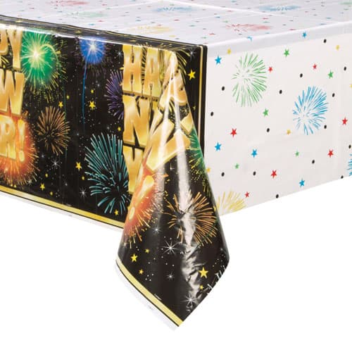 Fireworks New Year Plastic Tablecover 213cm x 137cm