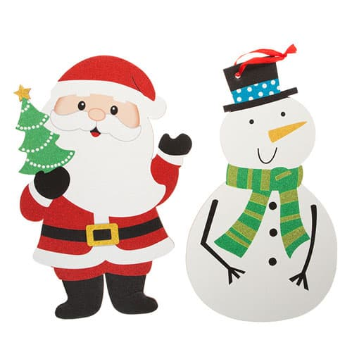 Assorted Christmas Glitter Printed Hanging Decoration 39cm Product Gallery Image